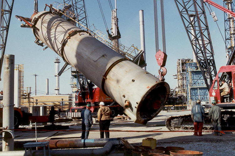 Ammonia Plant to China (250 mton Vessel to be lowered to the ground for shipping)